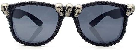 EGFSX Gafas de Sol Gafas De Sol De Halloween De Diamantes De Imitación De Calavera Negra para Mujer Gafas De Sol De Tendencia De 2020 Preciosas Gafas De Sol para Ojos De Gato Redondas