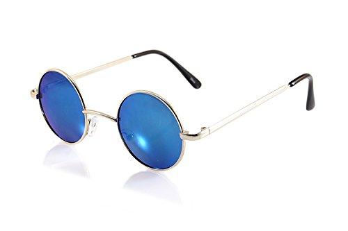 FBL Vintage John Lennon Round Sunglasses Mirrored/ Smoke Lens (z.Silver/ Blue RV, - Blue John Sunglasses Lennon