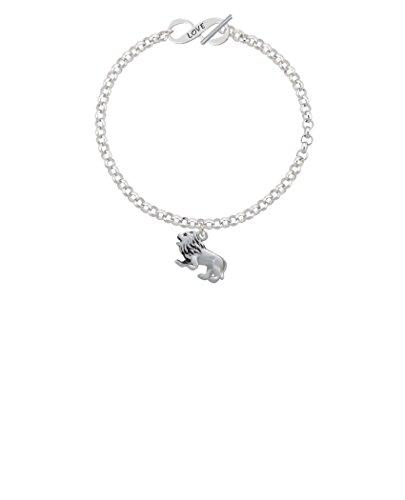 Silvertone 3-D Lion Love Infinity Toggle Chain Bracelet, 8