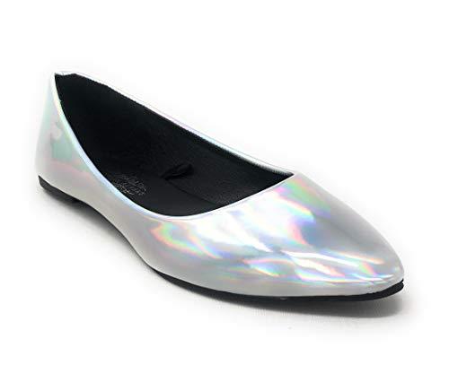 Charles Albert Women's Pointed-Toe Slip-On Comfort Fit Ballet Flat in Metallic Silver Size: 10 (Flats Metallic Leather Ballet)