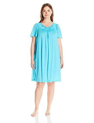 Shadowline Women's Plus Size Petals 40 Inch Short Flutter Sleeve Waltz Gown, Turquoise, 2X