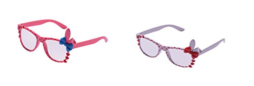 UltraByEasyPeasyStore 2 Pairs of Cute 3D Multi Color clear lens Bunny Heart Bow Frames for costumes parties Glasses gift nerds & hipsters Blue Pink Black Yellow White (1 Pink 1 White Pair) ()
