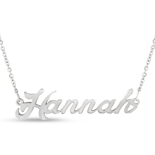 Hannah Nameplate Necklace In Silver Tone ()