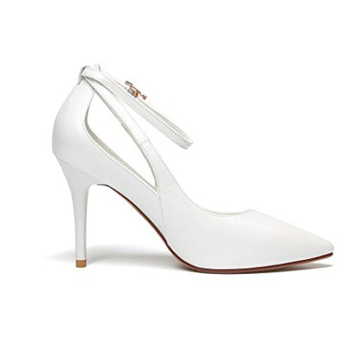Coupe des de Cuir Chaussures des Pointus Femme Mode DKFJKI Chaussures Talons Hauts Peu Basse Fine Professionnelles Élégantes de White Profondes Avec de des CzdxP