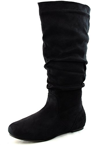 Wild Diva Women's Kalisa-04 Vickie Black Round Toe Mid High Boots Shoes, Black, 11