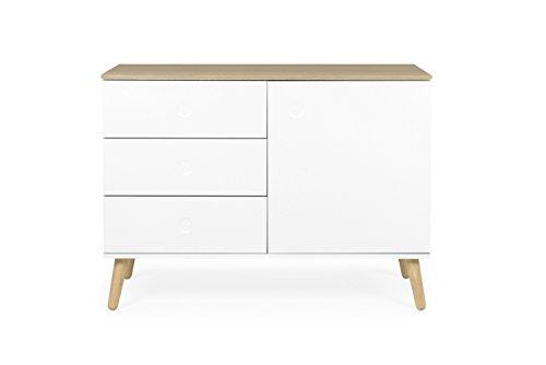 Sideboard holz weiß  Tenzo 1674-454 Dot Designer Sideboard Holz, weiß / eiche, 43 x 109 ...