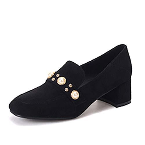 De Poliuretano Zapatos Negro De Square Caqui Tacones Chunky Toe Talón Básica Verano Imitación Bomba Mujer Black PU QOIQNLSN Perla 0qIdq