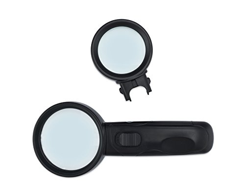 LED Magnifying Glass Set - 2 Illuminated Optical GLASS Magnifiers in 1 (High Powered 5X, 10X Magnification) | Great for Seniors, Poor Vision, Macular Degeneration (Holographic Computer Monitor)