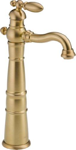 Delta Faucet 755LF-CZ Less Pop-Up Victorian Single Handle Centerset Bathroom Faucet with Riser, Champagne Bronze