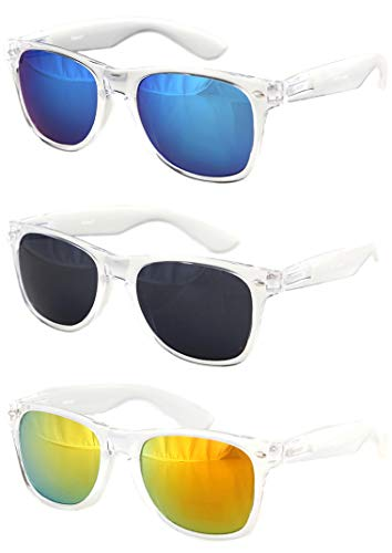 Shaderz Sunglasses Classic Clear Frame Retro 80's Rave - Combo of ()