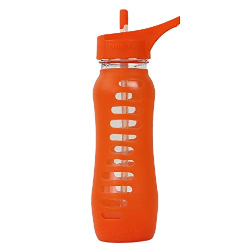 EcoVessel SURF SPORT Glass Water Bottle with Protective Silicone Sleeve and Flip Straw Top - 22 Ounces - Orange Slice ()