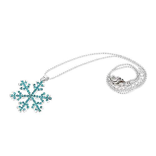 c Women Snowflake Crystal Rhinestone Silver Chain Pendant Necklace Jewelry Romantic Gift (Blue) ()