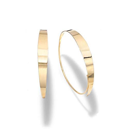 14k Yellow Gold Graduated Threader Hoop Earrings ()