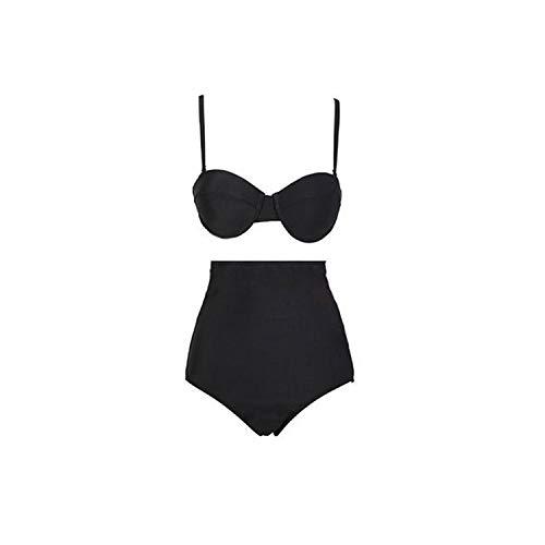 SHINE-Tae hirigin New Summer Bikini Set Push-Up Bra Black Solid Swimsuit Beachwear Swimwear Bathing Suits,Black,M