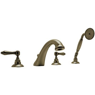 Rohl A1464LMTCB Country Bath Roman Tub Faucet with Metal Lever Handles and Single Function Hand Shower, Tuscan Brass by Rohl