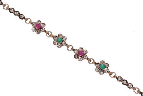 Flowers Antique Filigree Emerald Ruby Gemstone Diamond Accent Hurrem Sultan Style Vintage Cute Bracelet