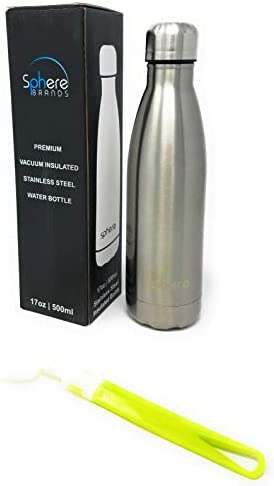 24 Hours Cold /& 12 Hours Hot BONUS Cleaning Brush Sphere 17 oz Stainless Steel Vacuum Insulated Water Bottle Reusable Metal BPA Free Leak-Proof Double Wall Travel Sports Flask Thermos