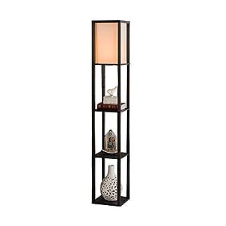 QIANGUANG® Illuminazione interna Lampada da terra in legno da 1,6 m con ripiani per camera da letto e soggiorno (senza lampadina) (Black)
