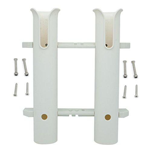 Hiumi Two Pole Side Mount Rod Holder, White Rod Rack for Milk Crate