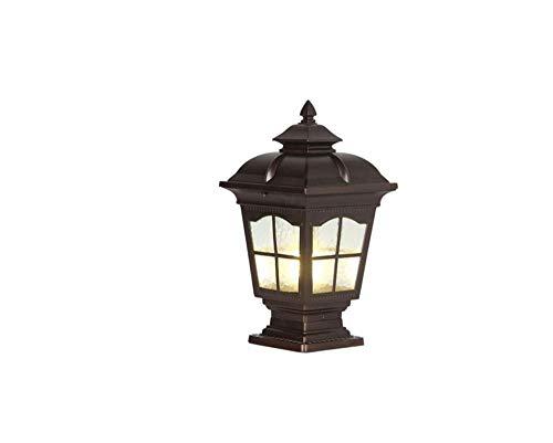 - 1-Light Outdoor Post Lantern with Clear Waterline Glass Panels Coffee Golden Finish Exterior Outdoor Pillar Decorative Splint Aisle E27