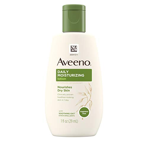 Aveeno Daily Moisturizing Body Lotion with Soothing Oat and Rich Emollients to Nourish Dry Skin, Fragrance-Free, 1 fl. oz- Pack of 36