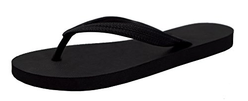 Feisco Women's Top Quality Rubber Flip Flops Thong Sandal Beach Slipper (10-11 B(M) US, black) (Black 11 Thong Sandals)