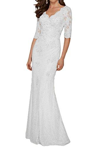 Figurbetont Etuikleider Langarm Abendkleider mia Brautmutterkleider Champagner Spitze Festlichkleider Braut La Weiß Lang FwHAzq