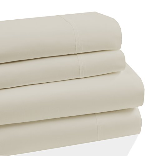 Westbury Manor 400 Thread Count 100% Combed Cotton 4 Piece Sheet Set, Soft Sateen Weave,Queen Sheet Set, Egyptian Quality Cotton, Deep Pockets,Hotel Collection,Luxury Bedding, Ivory