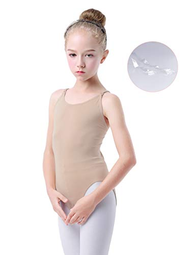 Daydance Tan Leotard for Girls, Ballet Gymnastics Seamless Undergarment with Adjustable Straps (Tag L (Fit Height 120-140cm, 6-9Y))