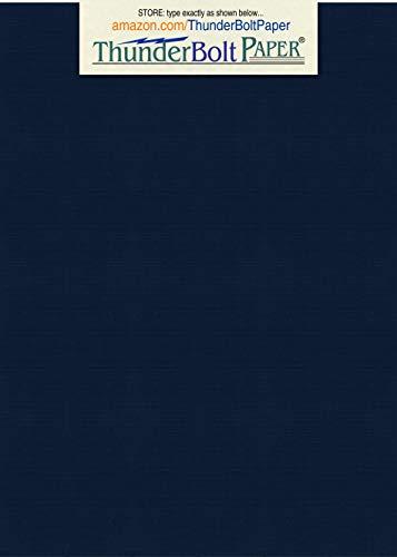 100 Dark Navy Blue Linen 80# Cover Paper Sheets - 5
