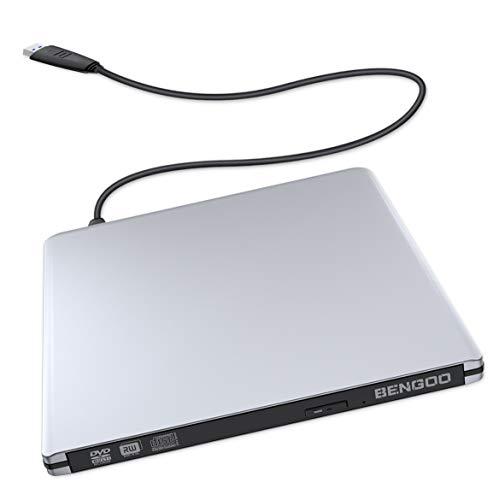 External CD DVD Drive, BENGOO USB 3.0 Ultra Slim Optical Drive Portable CD DVD-RW Burner Writer Rewriter for Apple MacBook Pro Air iMac Laptop Desktop Support Mac OS/Windows/Vista System - Silver ()