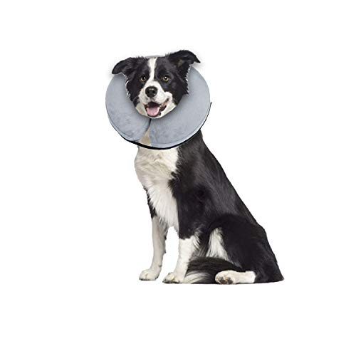 E-KOMG Protective Inflatable Collar Dog Cone After Surgery Blow Up Dog Collar Pet Recovery Collar for Dogs and Cats (Large)