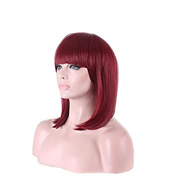 Ryu @ il Vino a Buon Feria Afro Rojo Color Fucsia pelo corto disfraz Fibra de alta temperatura peluca cosplay Bob Pelucas Belle delle fucsia: Amazon.es: ...