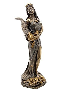 11.38 Inch Blinded Greek Goddess Fortuna Cold Cast Bronze Figurine -  US, SS-US-WU71833A4