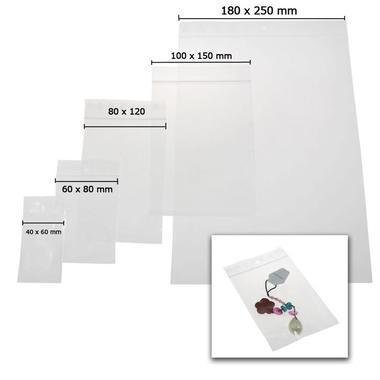 Plastic zip-up jewellery packets/pouches - size 60 x 80 mm - pack of 500 Présentoirs pour bijoux
