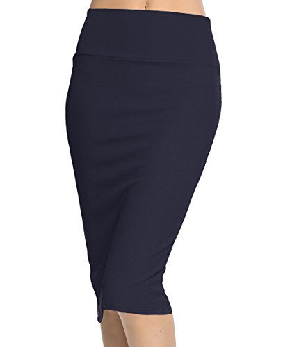 Urban CoCo Women's High Waist Stretch Bodycon Pencil Skirt (M, navy-long)
