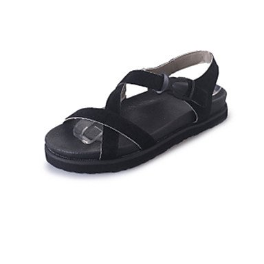 Sandalias Tacón Informal PU Vestido Confort Negro Plano Green Gris LvYuan dfZOvtqt