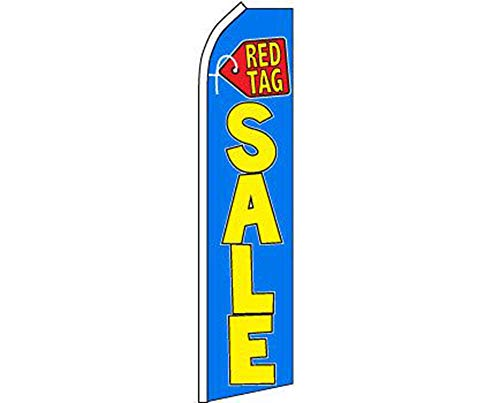 ALBATROS Red Tag Sale Blue Yellow Swooper Super Feather Advertising Flag for Home and Parades, Official Party, All Weather Indoors Outdoors -