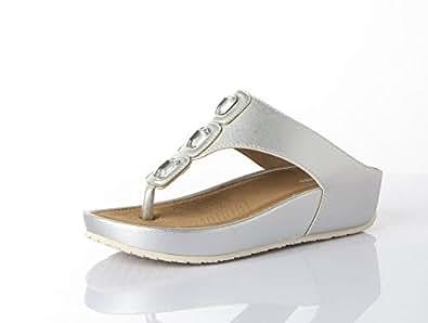 Shoexpress Thong Sandal For Women,Silver