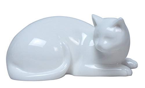 White Glazed Porcelain - 5.50 Inch All White Glazed Porcelain Cat Lying Down Faces Right