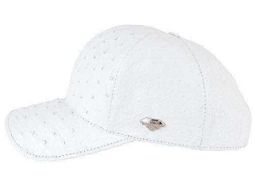 Genuine Ostrich Exotic Skin Adjustable Baseball Cap (White) by FERLO