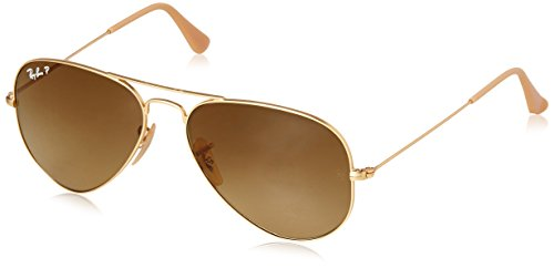 - Ray-Ban RB3025 Aviator Polarized Sunglasses, Matte Gold/Polarized Brown Gradient, 55 mm