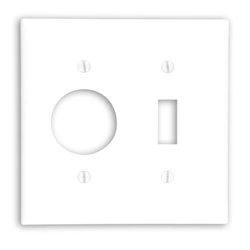 Leviton 88007 2-Gang 1-Toggle 1-Single 1.406-Inch Diameter, Device Combination Wallplate, Thermoset, Device Mount, White