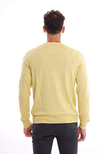 Neck In Round Merino Homme Jumper Yellow Wool Fay 7aBvq6T