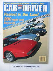 Car and Driver Magazine, December 1987: 200 mph and Beyond!, Toyota MR2 Supercharged, etc. ()