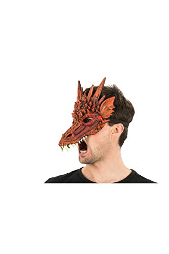 Supersoft Fantasy Adult Dragon Half Face Halloween Mask (Red) -