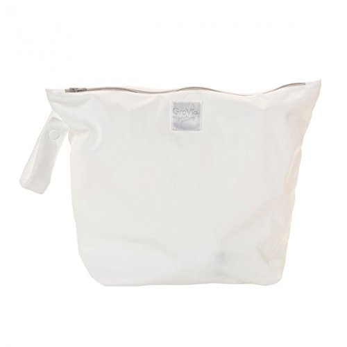 GroVia Reusable Zippered Wetbag for Baby Cloth Diapering and More (Snow)