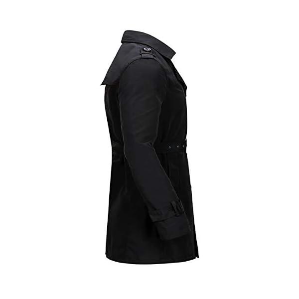 Trench Coat Homme Long Manteau Homme Hiver Pardessus Double Boutonnage Parka Veste Classiquee,Noir-1,L