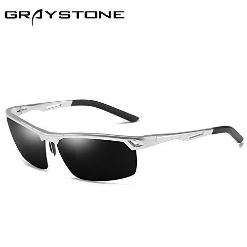 Gafas de equitación Gafas de de magnesio sunglasses Silver Gafas Deportivas al polarizadas Sol Libre Gafas Mjia Hombre Negro Aire Aluminio conducción 6Oq7wxf44