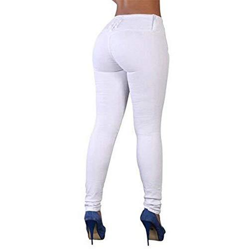 Sólidos Colores Bolsillos Con Slim Para Jegging Pantalones Ocio Mujeres Lápiz Fit Elásticos Vaqueros Denim Blanco Casuales Pitillo Mujer AOxnnRZ67